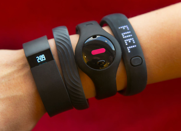 Fitness trackers on a wrist